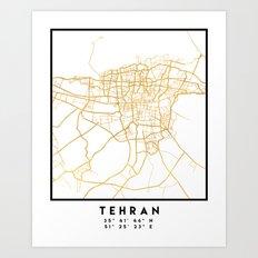 TEHRAN IRAN CITY STREET MAP ART Art Print