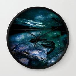 Magical Mountain Lake Dark Teal Wall Clock