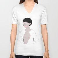 fig V-neck T-shirts featuring Fig. 1 by Lala Gallardo