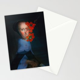 She hides behind the flowers Stationery Cards