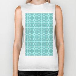 Turquoise Blue Square Chain Pattern Biker Tank