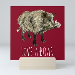 Love a-boar in Red Mini Art Print