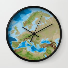 Topographic map of Europe Wall Clock