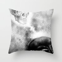 evil Throw Pillows featuring Evil by shaunsheep