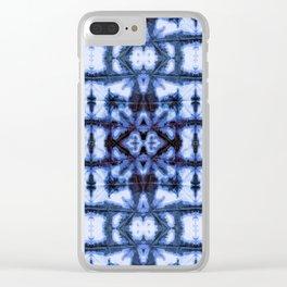 Blue Oxford Shibori Clear iPhone Case