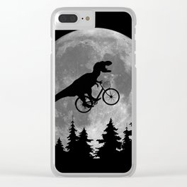Biker t rex In Sky With Moon 80s Parody Clear iPhone Case
