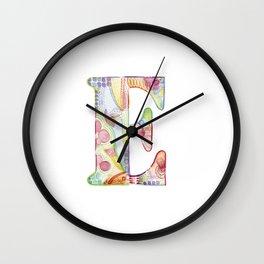 Letter E - Watercolor Monogram - Colorful Lettering - Watercolor Letter Print - Watercolor Initial Wall Clock