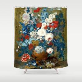 """Jan van Os  """"Flower still life with a bird's nest on a ledge"""" Shower Curtain"""