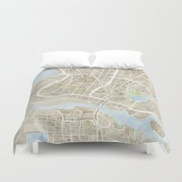 oakland Duvet Covers featuring Oakland California Watercolor Map by Anne E. McGraw