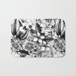 Black And White Tropical Flower Pattern Bath Mat