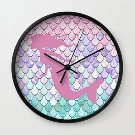 Mermaid Silhouette, Pastel Pink, Purple, Teal Wall Clock