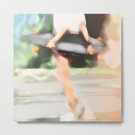 Skater Girl Painting Metal Print