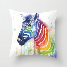 Zebra Watercolor Rainbow Animal Painting Ode to Fruit Stripes Throw Pillow