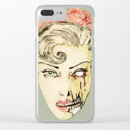 zombie pin-up retro housewife horror rockabilly scarf wearing strong woman Clear iPhone Case