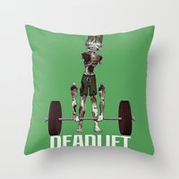 crossfit Throw Pillows featuring Crossfit Zombie by RonkyTonk doing Deadlift by RonkyTonk