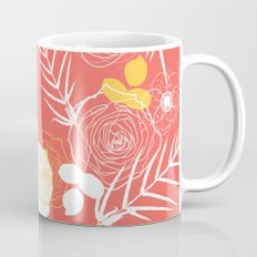 Coral Retro Floral Mug