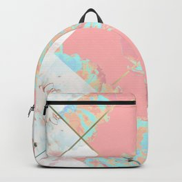Abstract Blush Geometric Peonies Flowers Design Backpack