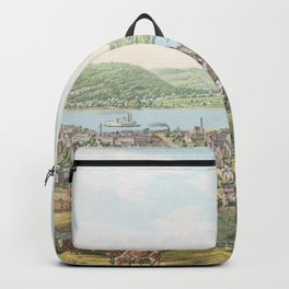 Vintage Pictorial Map of Wheeling WV (1854) Backpack