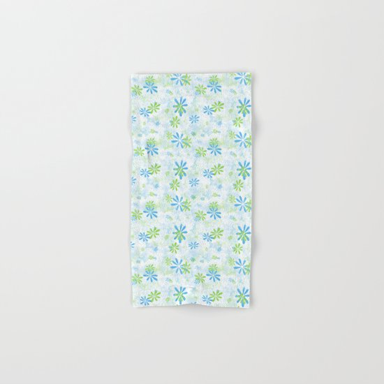 Blue and Green Floral Pattern Hand & Bath Towel