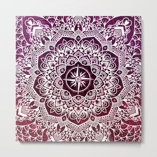 Voyaging Spirit Purple Red Mandala Metal Print