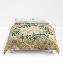 Wreath #Flowers & Butterflies#Royal collection Comforters