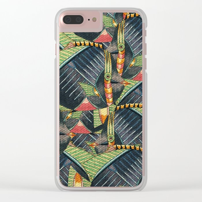 Crowd Fish 3 Clear iPhone Case