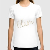 gold glitter T-shirts featuring Gold Glitter Alligator Print by Zen and Chic