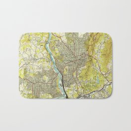 Vintage Map of Asheville North Carolina (1943) Bath Mat