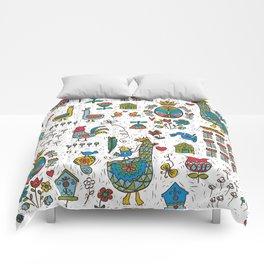 Swedish Folk Art Goose Fable Comforters