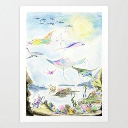 An Ocean's Raynbow Art Print