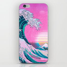 Vaporwave Aesthetic Great Wave Off Kanagawa Sunset iPhone Skin