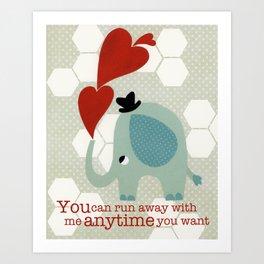 Heart Elephant Art Print