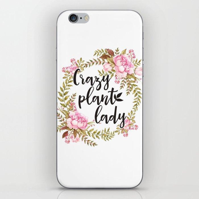 Crazy Plant Lady - Floral wreath Botanical iPhone Skin