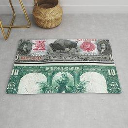 1901 U.S. Federal Reserve $10 Dollar Legal Tender Bison Bank Note Rug