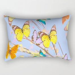 Playing butterflies on a summer day - lovely blue sky background - cheerful and happy Rectangular Pillow