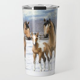 Buckskin Pinto Paint Quarter Horses In Snow Travel Mug