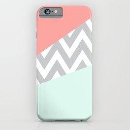 Original Mint & Coral Chevron Block iPhone Case