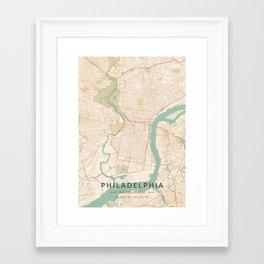 Philadelphia, United States - Vintage Map Framed Art Print