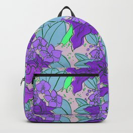 Purple Lilies and Orchids Backpack