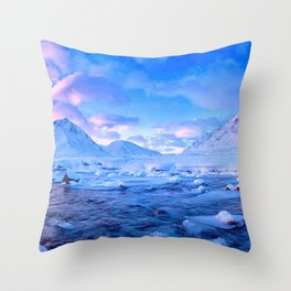 Marvelous Arctic Snowy Ice Float Mountain Range HD Throw Pillow