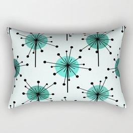 Atomic Era Sputnik Starburst Flowers Turquoise Rectangular Pillow