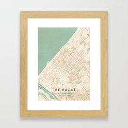 The Hague, Netherlands - Vintage Map Framed Art Print