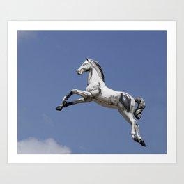 Escaped carousel horse Art Print