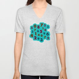 3D neon numbers on teal Unisex V-Neck