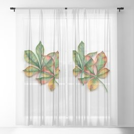Yellowish Leaves Sheer Curtain