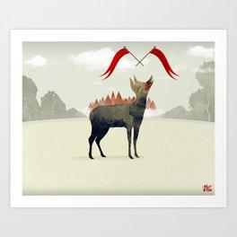 Wood Hyena Art Print