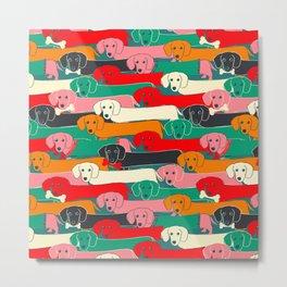 dachshund pattern- happy dogs Metal Print