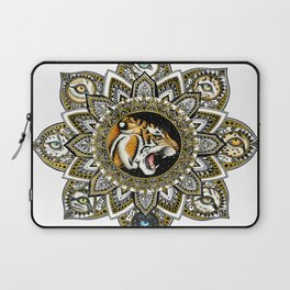 Black and Gold Roaring Tiger Mandala With 8 Cat Eyes Laptop Sleeve