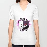 dangan ronpa V-neck T-shirts featuring Dangan Ronpa by zamii070