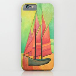 Cubist Abstract Sailing Boat iPhone Case